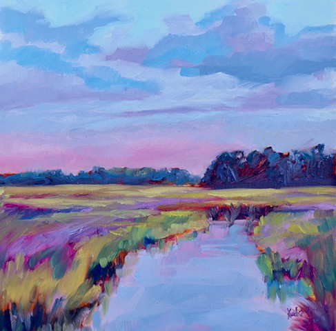 Original oil painting of Figure Eight Island marsh by artist, Katie Wall Podracky