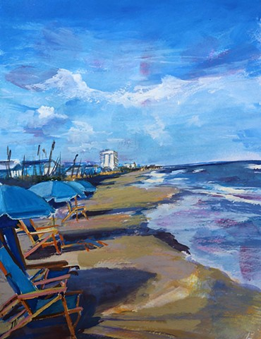 Original gouache painting of Carolina Beach and Kure Beach by artist Katie Wall Podracky