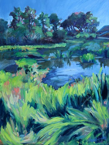 Original Katie Wall Art oil painting of Emerald Isle beach low country marsh scene
