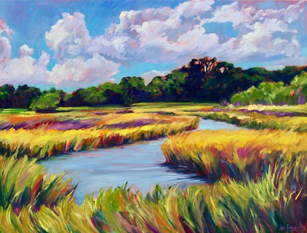 Original oil painting of Hilton Head marsh by artist, Katie Wall Podracky