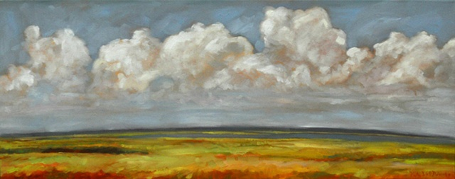 Original oil painting landscape of clouds over Fort Fisher, N.C.