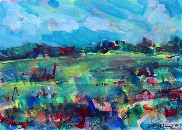Original gouache abstract landscape of flower field in Barboursville VA by artist Katie Wall Podracky