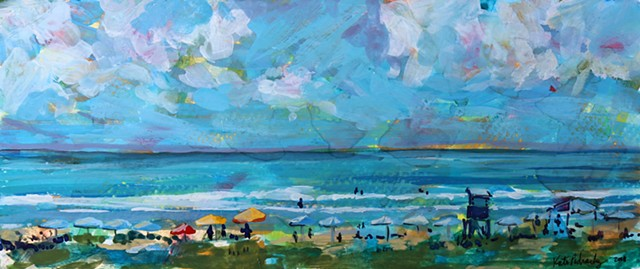 Original gouache painting of Carolina Beach and Kure Beach by artist Katie Wall Podracky.