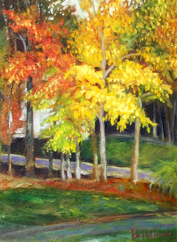 Original oil painting of fall trees by Katie Wall Podracky