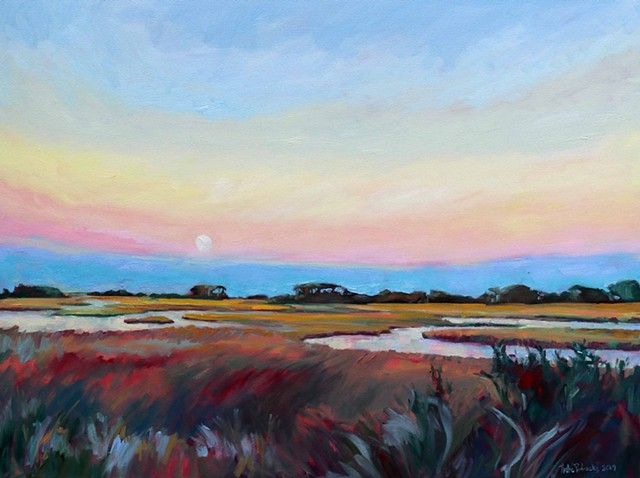 Original oil painting of super moon over Bald Head Island by artist, Katie Wall Podracky