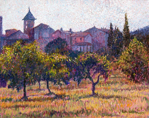 Original oil painting of a Luberon village in France by Katie Wall Podracky