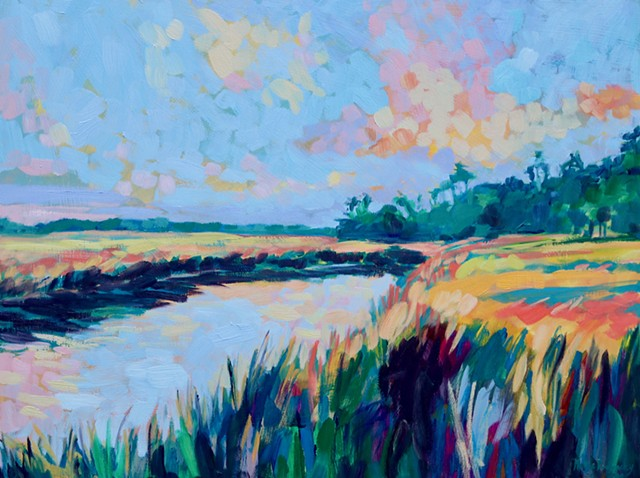Original oil painting of Bald Head Island marsh by artist, Katie Wall Podracky