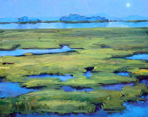 Original oil painting of low country marsh scene in moonlight by artist Katie Wall Podracky