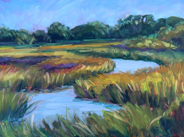 Original oil painting of low country marsh by artist, Katie Wall Podracky