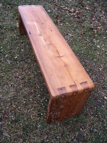 reclaimed lumber wood furniture bench dovetail