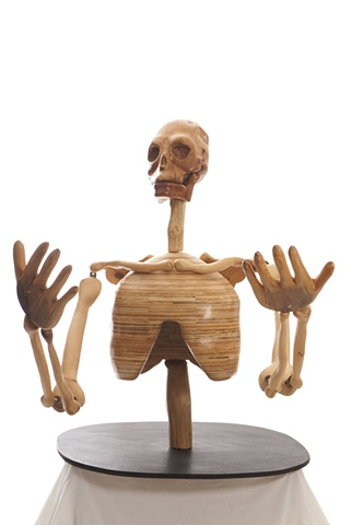 wood skeleton large sculpture carving skull