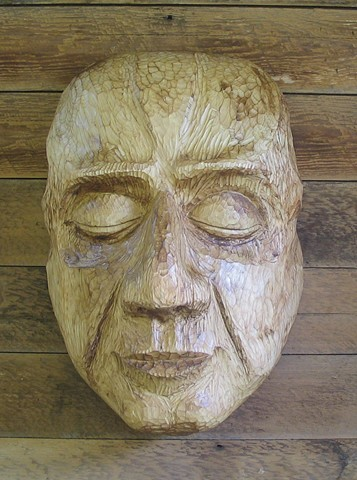 wood sculpture cedar mask face carving Northwest style