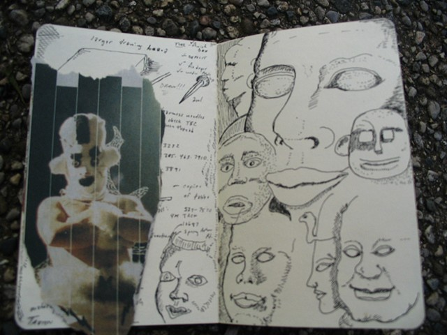 sketchbook drawing pen and ink collage
