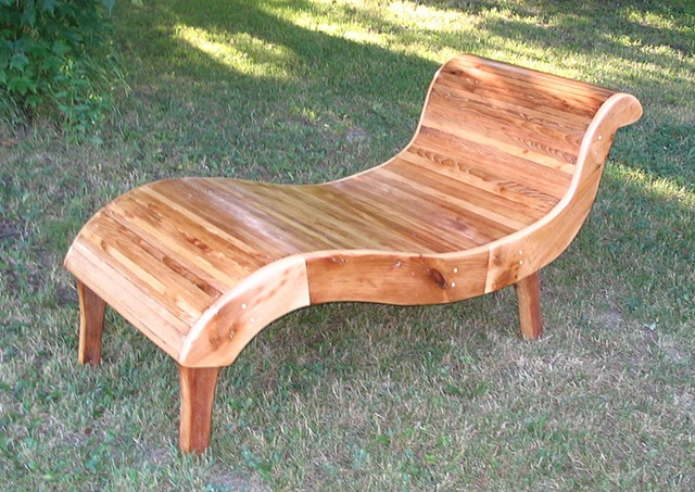 chaise lounge reclaimed wood lumber curved pine salvaged re purposed