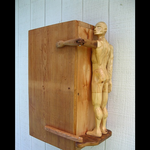 sculpture cabinet figure custom wall wood carved