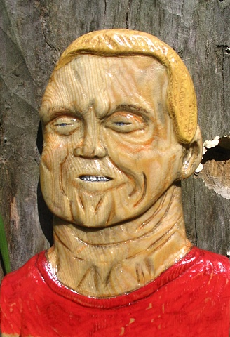 relief carving wood face portrait sculpture
