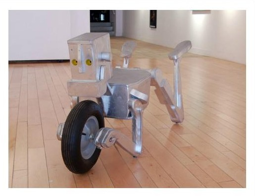 robot wheelbarrow sculpture art