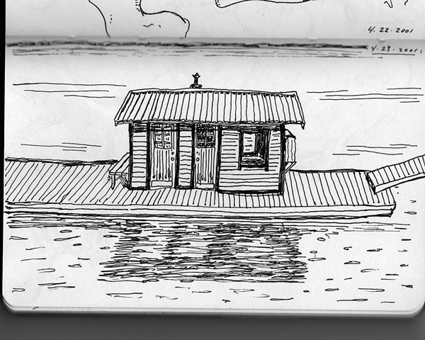 sketchbook drawing pen and ink Swedish houseboat