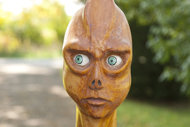 alien carving sculpture life size wood