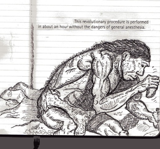 sketchbook drawing pen and ink Neanderthal trepaning