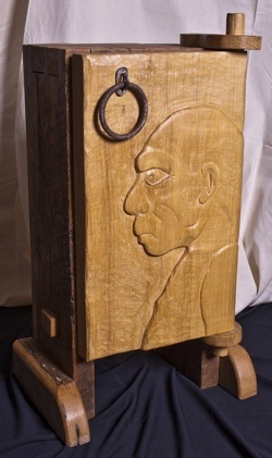 studio furniture cabinet custom relief carving rustic