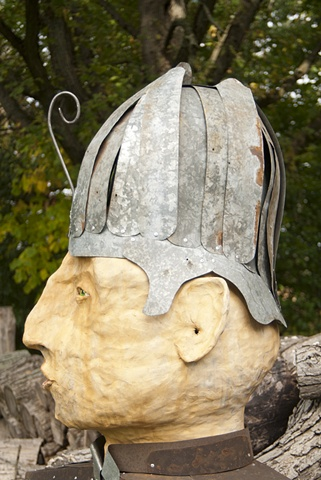 large scale ceramic head sculpture figurative metal