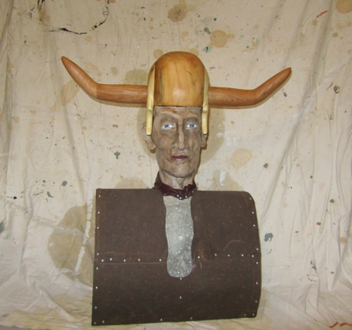 bust sculpture viking ceramic