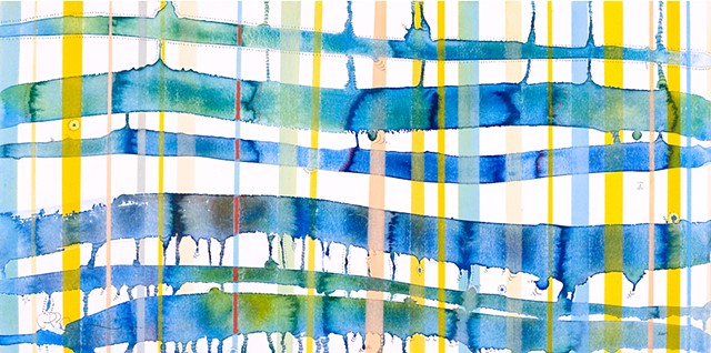colored lines, abstract art, watercolor
