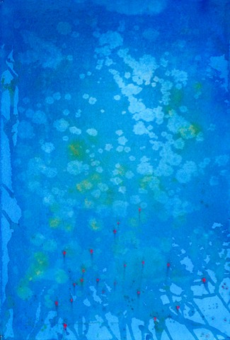 Blue Watercolor wash, under water, ocean watercolors