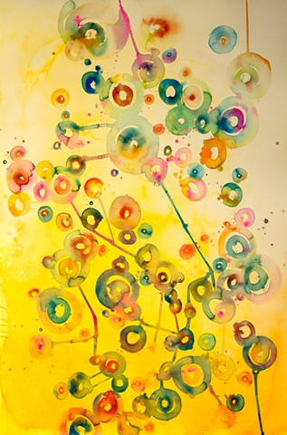 Rambow of colored circles, watercolor abstract painting, fine art