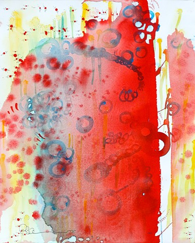 orange and red abstract watercolor painting