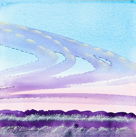 watercolor sunrise in the winter in texas - fine art work