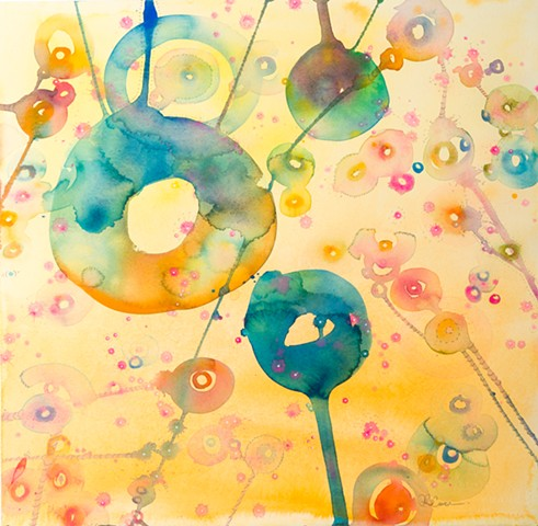 Circle of color and rainbow bubbles, fine art, abstract art