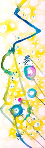 yellow and blue cicles watercolor abstract fine art