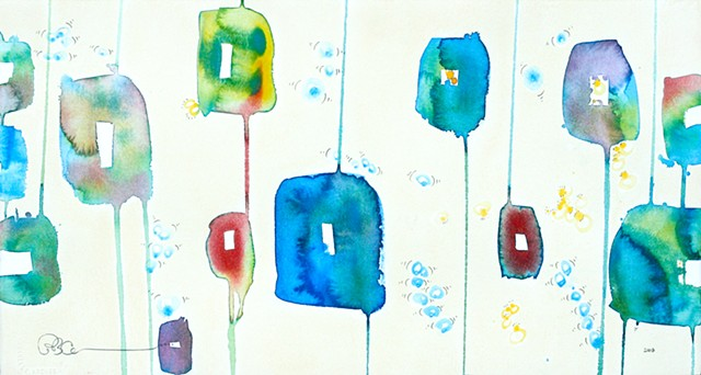 square abstracte colorful watercolor art