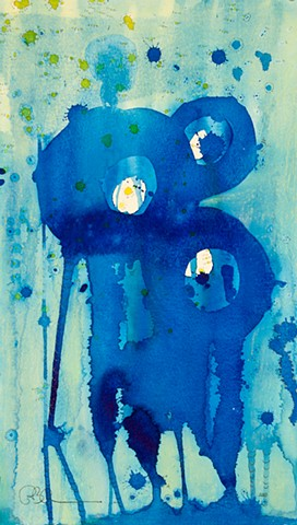 Blue moon abstract fine art - much like japanese block printing