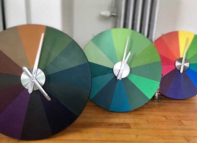 """Color O' Clock.""  2'x2', Acrylic on Wood. Metal. AA Battery."