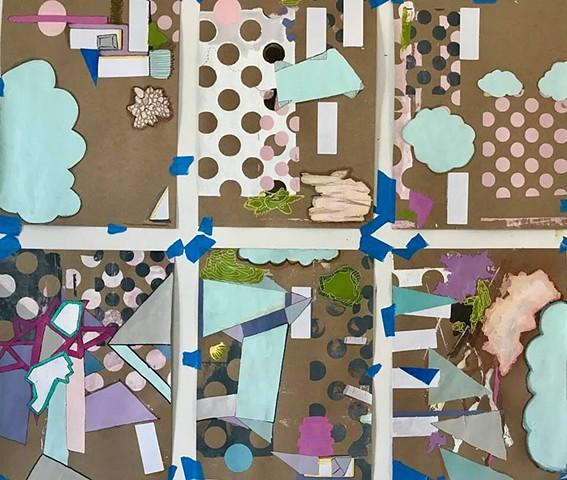 "Silkscreen, Acrylic, Spray Paint, Mixed  Media on Butcher Paper.   ""Pop Up"" Exhibition  The Lilypad, Inman Sq, Cambridge MA."