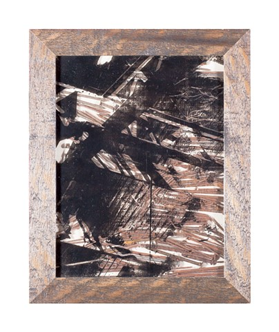 Screenprint and rusty nails layered into a wooden frame shadowbox with photo of steel girders taken at an abandoned trainyard