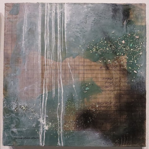 Mixed media encaustic painting with oil paint of Eastern State Penitentiary in Philadelphia, PA by Crystala Armagost