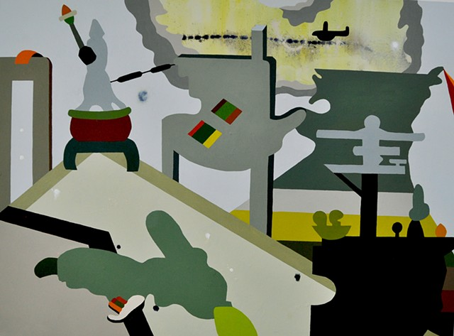 Video game sources (Call of Duty: Modern Warfare 3) feed this abstract painting