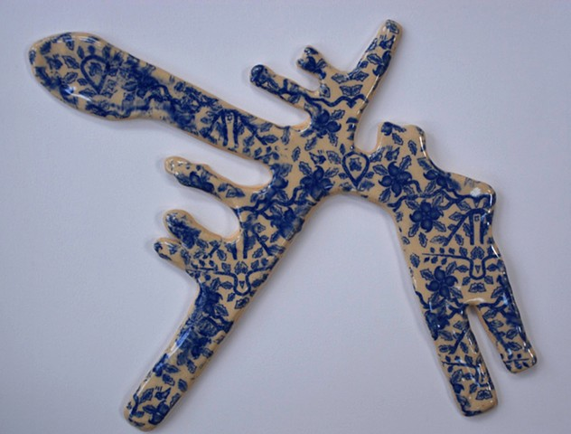 clay drone shadows decorated with floral patterns