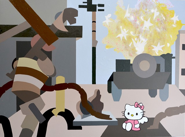 Shooter Video Game Battlefield 4 with corporate icon Hello Kitty as an angel