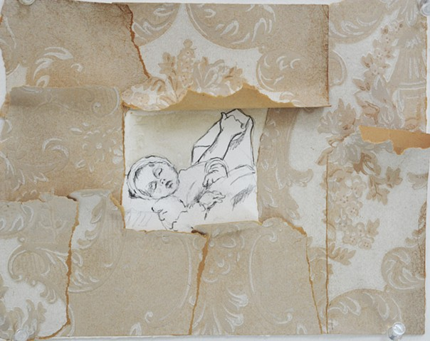 baby sleeping, collage, wallpaper, drawing