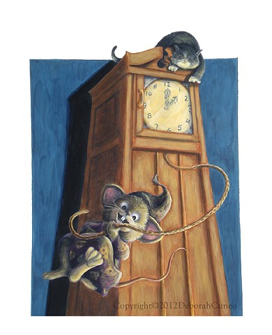Mouse swinging from a clock