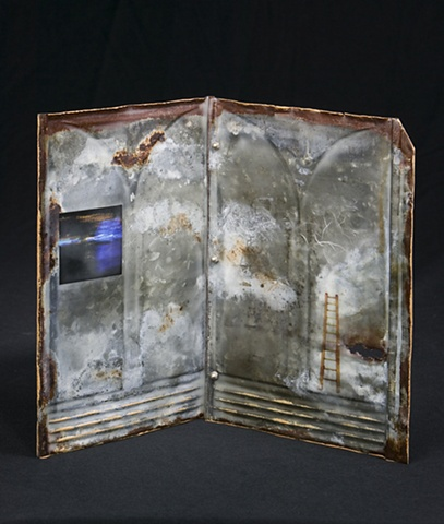 Mixed Media encaustic artist book sculpture on metal by Brandy Eiger with ladder and photograph
