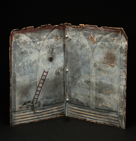 Mixed Media encaustic artist book sculpture on metal by Brandy Eiger with Ottoman calligraphy and ladder