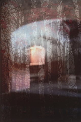 Photomontage collage metal art photograph infused onto aluminum of forest in the fall at dusk with lighted window by Brandy Eiger mixed media artist