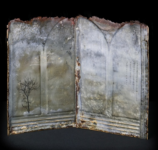 Mixed Media encaustic artist book sculpture on metal containing tree and poem from Tao Te Ching by Brandy Eiger