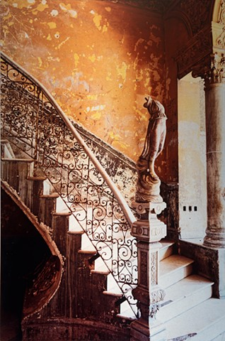 Photograph metal art infused on aluminum of Cuban beautiful ancient stairway with sculpture and window by Brandy Eiger mixed media photographer artist